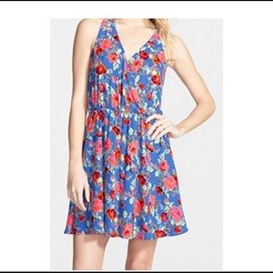 Lush Blue Floral Faux Wrap Dress Women's size med